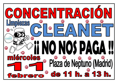 Concentración Cleanet 11 febrero en Madrid